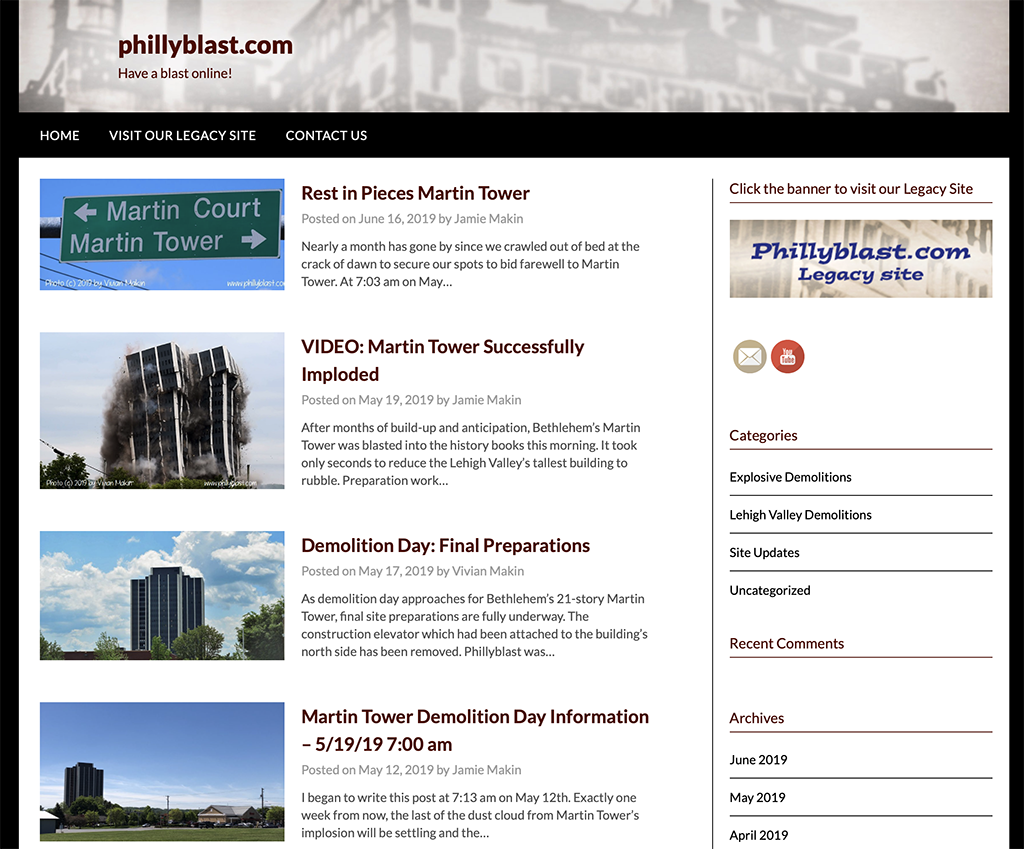 Homepage of the Phillyblast.com website in 2019