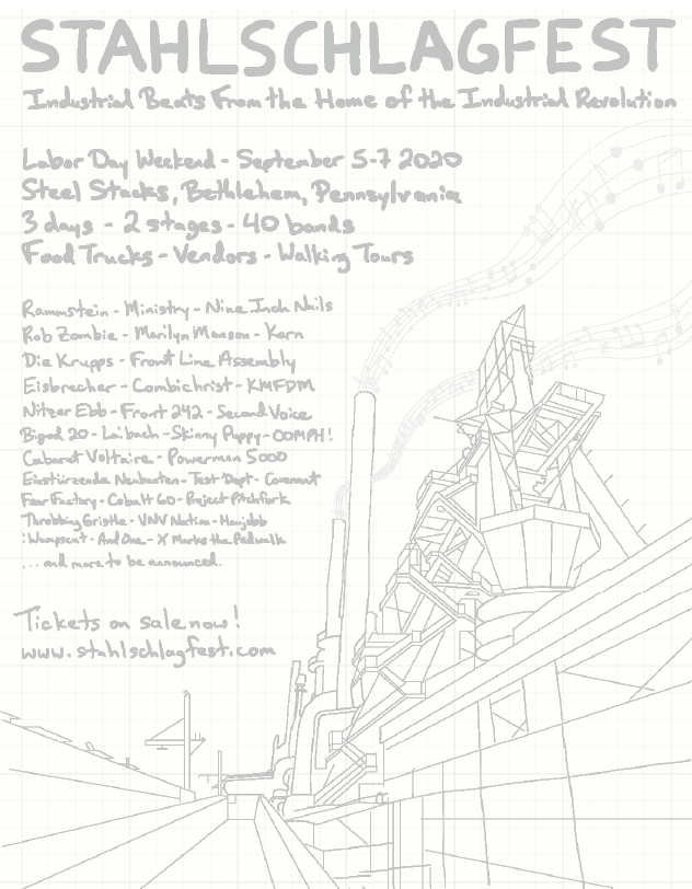 Hand sketch used as the underlay for creating the Stahlschlagfest poster